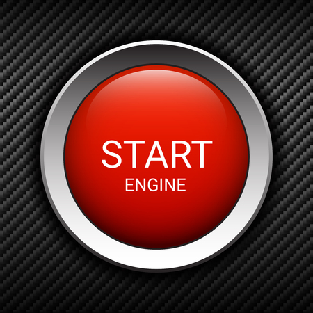 Start engine button on carbon background