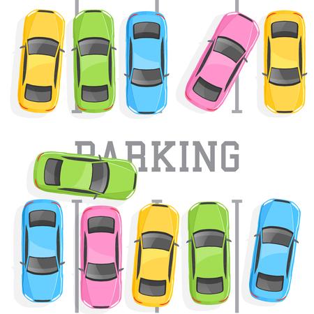 Top view of a car parking Иллюстрация