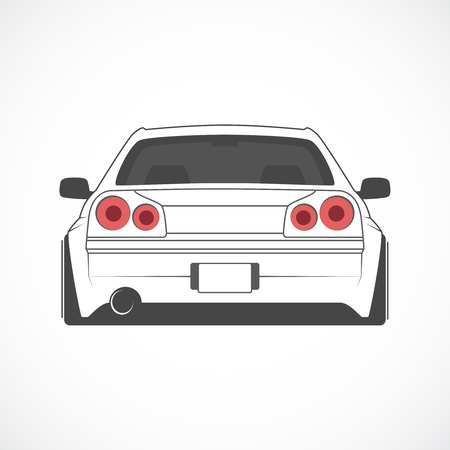 Vector illustration of japan sports car back view.