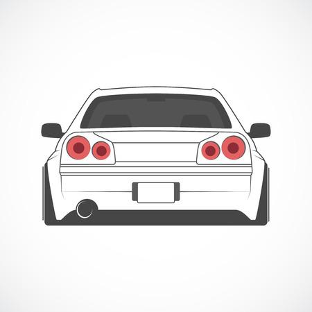 Illustrazione vettoriale di vista sportiva japan sport vista posteriore.