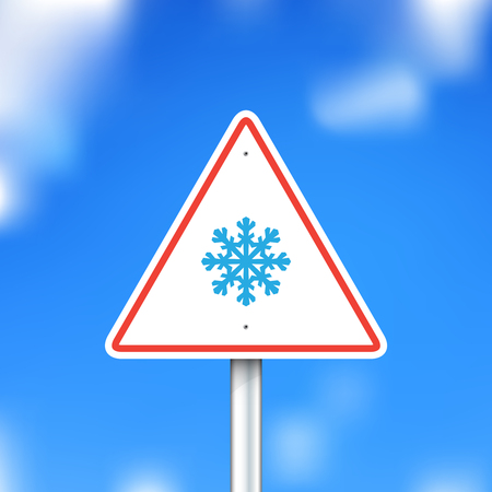 sleet: Vector road sign with snowflake Illustration