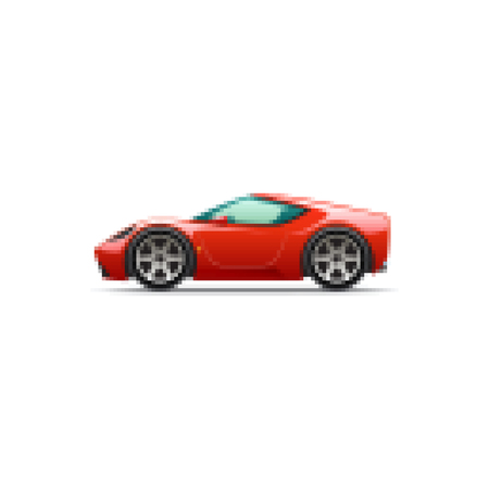 Pixel red cartoon sport car. Side view