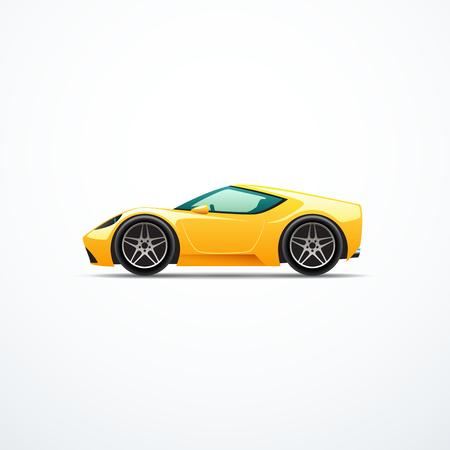 Vector de dibujos animados de color amarillo coche deportivo. Vista lateral