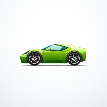 Vector coche deportivo de dibujos animados verde. Vista lateral
