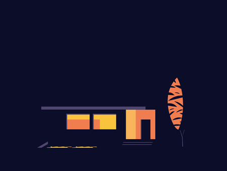 House at night. Abstract illustration