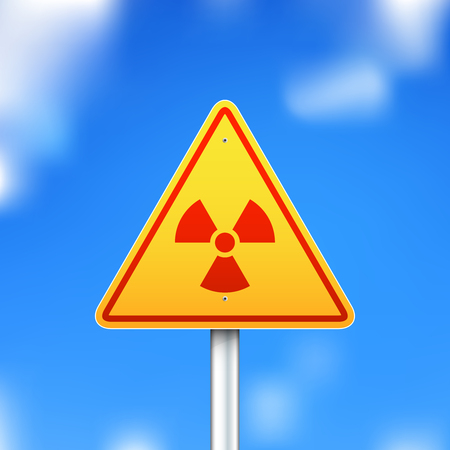 Vector triangle radiation sign on blue sky background
