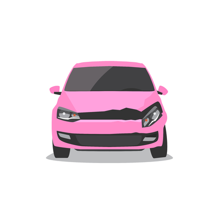 Damaged pink car. Car accident