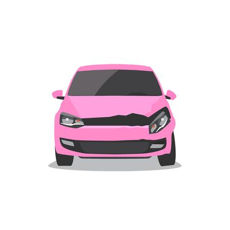 Damaged pink car. Car accident