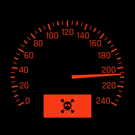Vector car speedometer dial with skull symbol. High speed concept Illustration