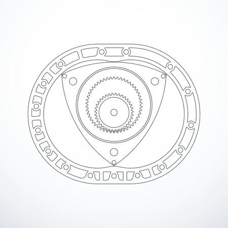 Rotary Wankel engine. Vector illustration