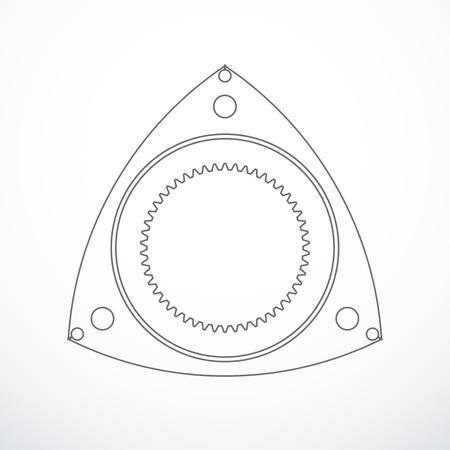 Rotor de moteur Wankel rotatif. Vecteurs