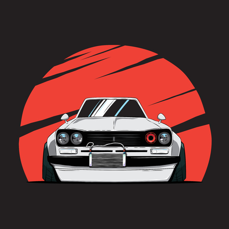 Cartoon japan tuned old car on red sun background. Front view. Vector illustration Vector Illustration