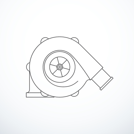 Vector turbocharger isolated. Turbocharger icon Illustration