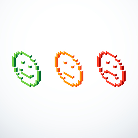 Set of isometric pixel emoticon icons