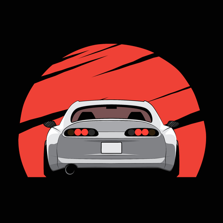 Cartoon japan tuned car on red sun background. Back view. Vector illustration