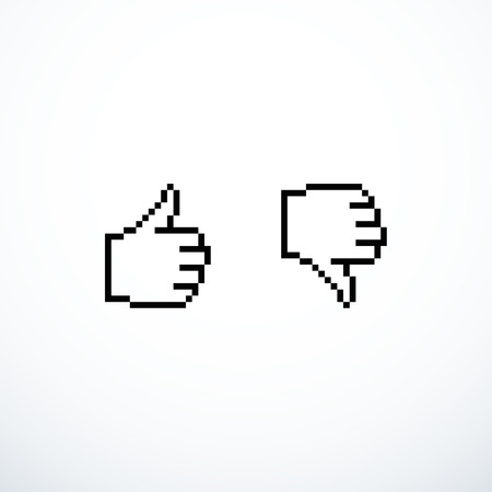 Pixel like and dislike icons thumbs up and down