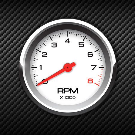 Vector tachometer on carbon background illustration. Ilustração