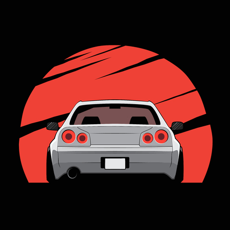 Cartoon Japan tuned car on red sun background back view vector illustration. 矢量图像