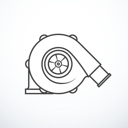 Vector turbocharger isolated. Turbocharger icon Illustration