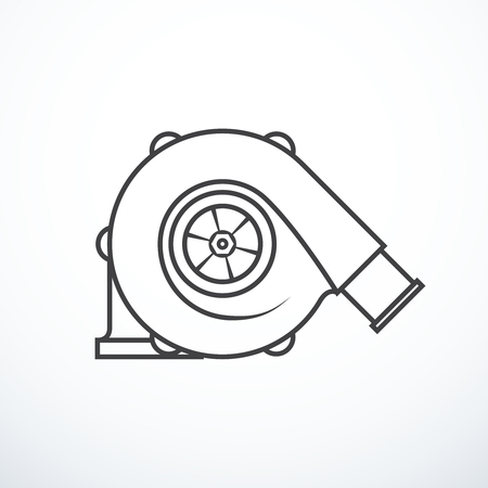 Vector turbocharger isolated. Turbocharger icon