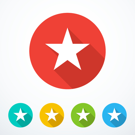 Set of colored star icons. Vector illustration  イラスト・ベクター素材