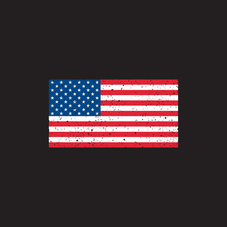 Grunge USA flag on black background vector.