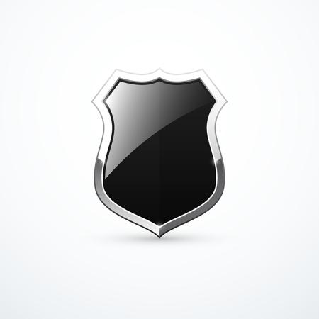 Black and chrome shield icon. Vector illustration