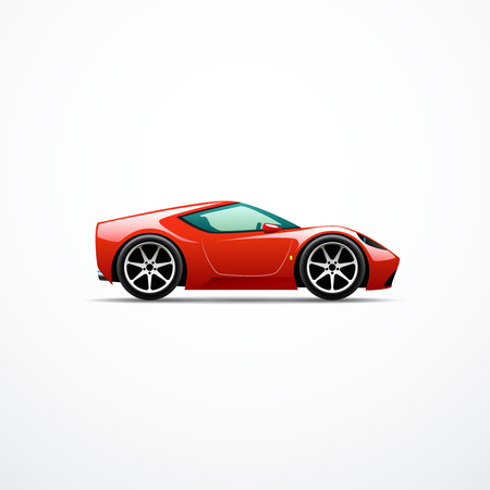 Vector red cartoon sport car side view.