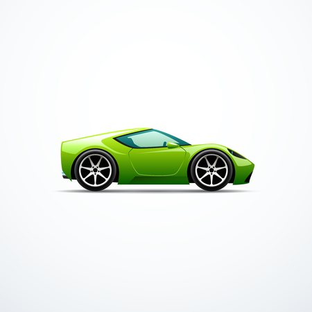 Vector green cartoon sport car. Side view Stock Illustratie