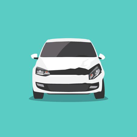 Damaged white car front view. Car accident Vector illustration Illustration