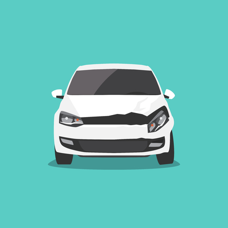 Damaged white car front view. Car accident Vector illustration Çizim