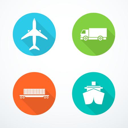 Set of transportation icons. Vector illustration Archivio Fotografico - 99097215