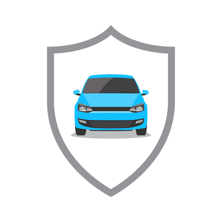 Blue car and shield. Car security / insurance concept. Vector illustration