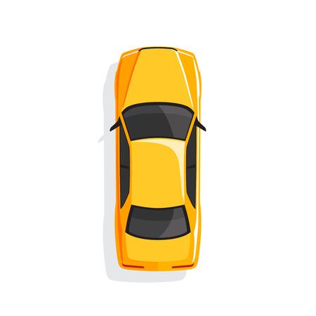 Yellow cartoon car. Top view. Vector illustration