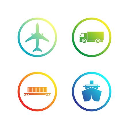 Set of trasportation / logistics icons. Vector illustration Vektoros illusztráció