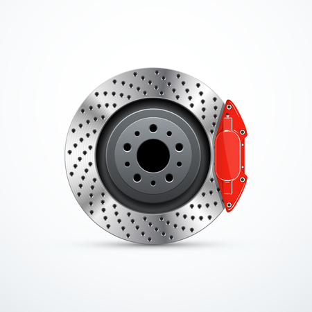 Vector brake disc with caliper. Car brakes Vectores