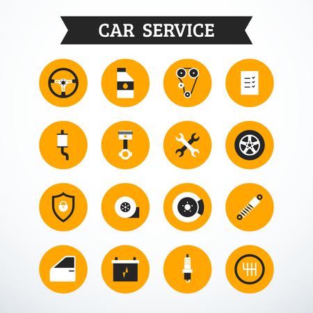 Conjunto de iconos de servicio de coche. Ilustración vectorial