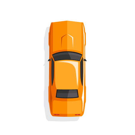 Orange cartoon muscle car. Top view. Vector illustration Stock Illustratie