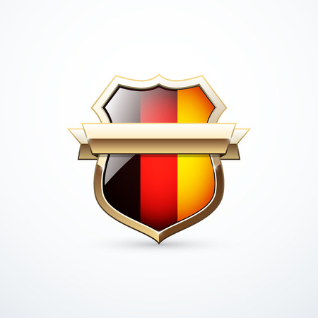 Gold shield with German flag elements. German shield icon. Vector illustration