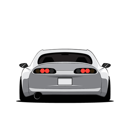 Cartoon japan tuned car isolated. Back view. Vector illustration