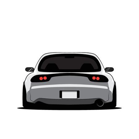Automobile sintonizzata Giappone del fumetto isolata. Vista posteriore. Illustrazione vettoriale