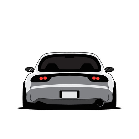 Cartoon japan tuned car isolated. Back view. Vector illustration Banque d'images - 106798223