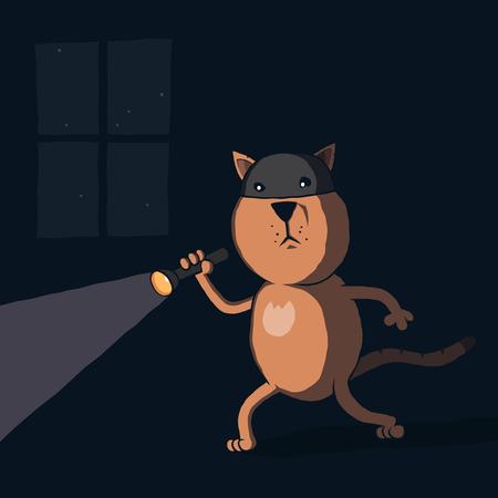 Cartoon cat burglar with flashlight at night. Vector illustration