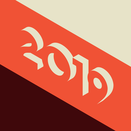 Abstract isometric 2019 Happy New Year background. Retro style vector illustration Ilustração