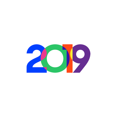 Abstract 2019 Happy New Year background. Vector illustration