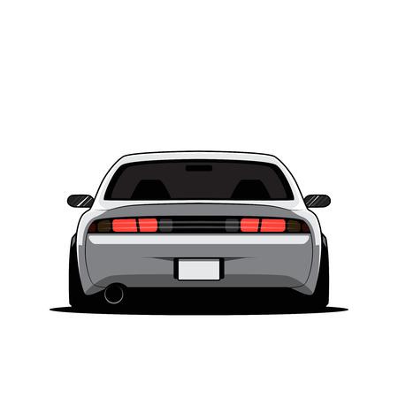 Cartoon Giappone auto sintonizzata isolata. Vista posteriore. Illustrazione vettoriale Vettoriali