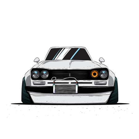 Cartoon japan tuned old car isolated. Front view. Vector illustration Illusztráció