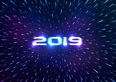 Abstract 2019 Happy New Year background. Abstract space background. Flying through hyperspace. Vector illustration Stock Illustratie