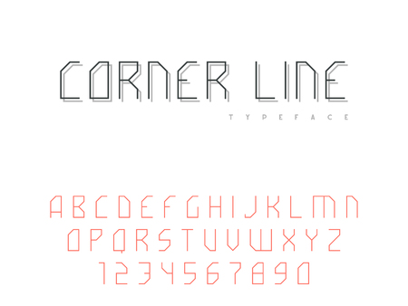 Vector latin uppercase alphabet letters and numbers. Abstract linear font Stock Illustratie