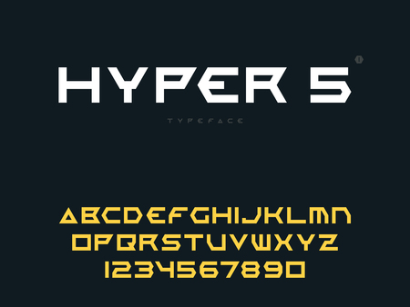 Vector latin uppercase alphabet letters and numbers. Abstract futuristic space font